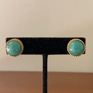 Vintage 1994 MMA Gold & Green Stone Stud Earrings